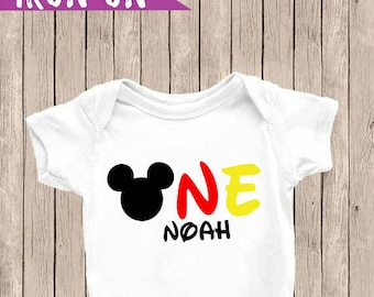 Personalized First Birthday Outfit, One Onesie, Mickey Mouse Onesie, First Birthday Iron-On, Birthday Iron On