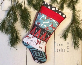 Dog Bone Pet Stocking, Christmas Stocking, Quilted, Personalized, Dog Biscuits, Red, Turquoise, Patchwork, Modern, Animal, Teal