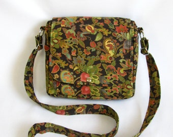Small messenger- Earth tone floral print cotton