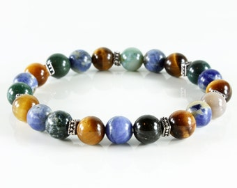 Stretch Gemstone Bracelet, beaded bracelet with Tiger Eye, Sodalite, Agate and silver accents, semi-precious stones, gift,3180