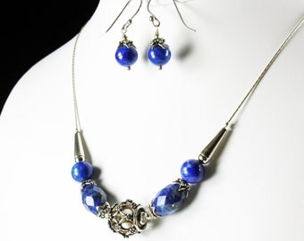Lapis Lazuli Necklace, Sterling Silver, fine artisan necklace with royal blue gemstone, elegant statement necklace, gift for her, NL2644