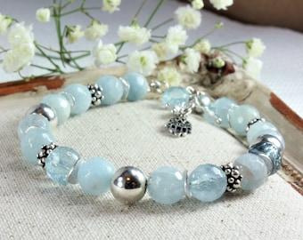 Natural Aquamarine Bracelet, 925 Sterling Silver, Genuine Aquamarine Jewelry, boho bracelet, blue gemstone bracelet, March birthstone, 4138