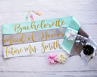 Bachelorette Sash, Bride To Be Sash, Bridal Party Sashes, Wedding Sash, Bridesmaid Sash, Maid of Honor Sash