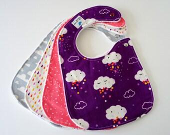 Side Snap Baby Bibs for Girl, Set of 4 - Clouds, Rain, Stars, Moons, Sky, Raindrops, Minky Back