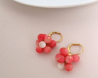 Salmon pink coral and seashell cluster earrings, handmade, natural gemstone earrings, gold plated 925 sterling silver and brass