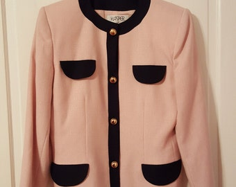 KASPER For A.S.L. BLAZER // PINK Deadstock New Old Stock Blazer Jacket Suit Jacket Size 10 Preppy Chic Gold Buttons