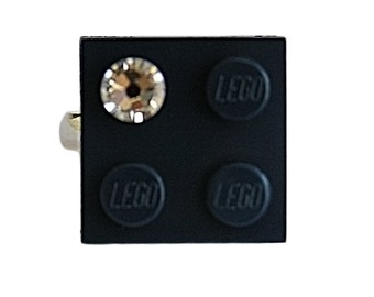 Navy Blue LEGO (R) brick 2x2 with a Diamond color SWAROVSKI crystal on a Silver/Gold plated adjustable ring finding