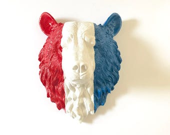 ANY Color Combination CUSTOM Large Bear Faux Taxidermy animal head wall mount Choose Your Own Colors / faux animal head / red white and blue