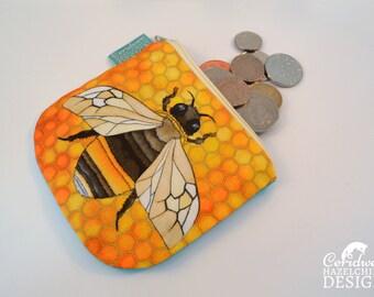 Bee Coin Purse, Handmade Purse, Zip Purse, Make-up Bag