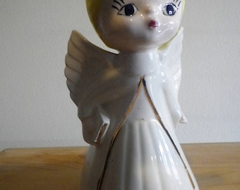 Angel Child Ceramic Figurine with Wings Baptism Communion Religious Chippy Chic Shabby Nursery Baby Shower