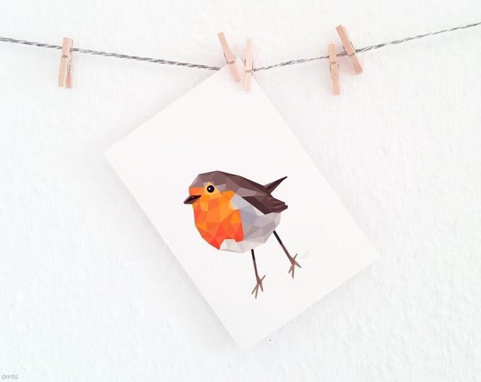 Robin redbreast print, Geometric robin art, Red robin illustration, Woodland creatures nursery, Garden birds, Common garden birds art print