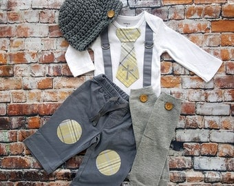 Baby Boy Baptism Tie Suspender Bodysuit, Easter Baby Boy, Christening, Button Hat, Button Leg Warmers, Knee patch pants, Grey and Yellow