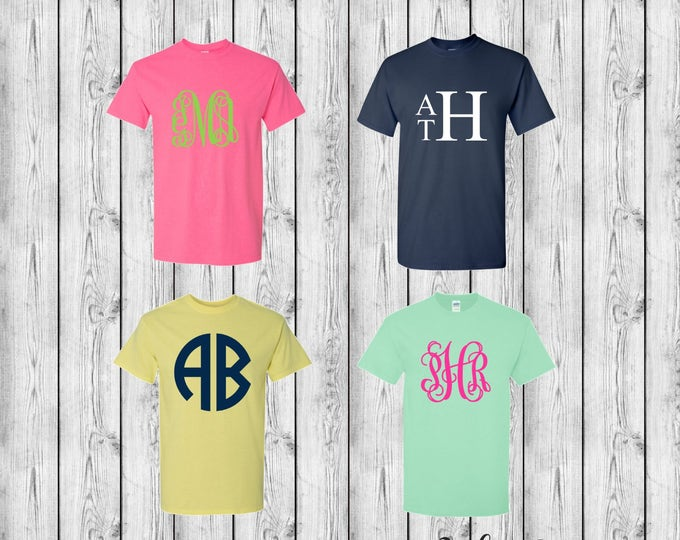 Monogrammed T-Shirt, Short Sleeve Monogram T shirt, Monogrammed Shirts, Bridesmaid Shirts, Group Discounts, Personalized T shirts