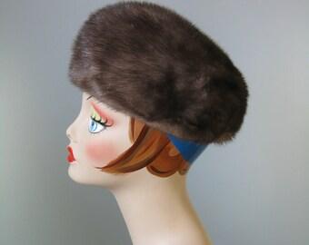 Mink Hat / Vtg 50 / Abraham & Straus Cool Brown Mink Hat / Mink Pillbox /
