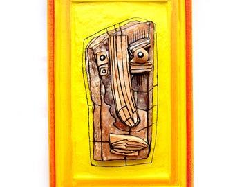 3D wall sculpture, Yellow sculpture, Weird sculpture, Modern ceramics, Abstract face, Yellow face, Crazy art, Ceramic wall art, by 99heads