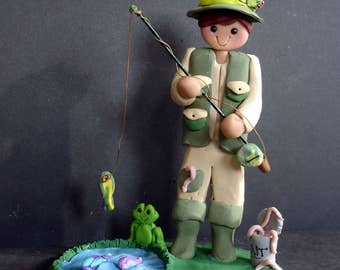 Fisherman Rod Reel Cake Topper Handcrafted Polymer Clay Milestone Fishing Frog Pond Pole Bobber Bait Bucket Worms Fish Hat Lure Grooms Cake