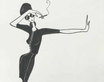 beatnik / drawing / fashion illustration / art / mod decor / original sketch