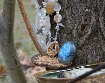 Quartz, Rainbow Moonstone, Sterling and shell beaded necklace with gold leaf Enamel Pendant