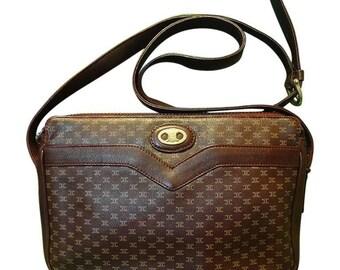 80's vintage Celine shoulder purse in bordeaux, burgundy leather with iconic blaison macadam print all over. riri zipper.