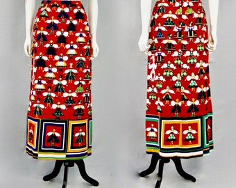 LANVIN Paris Vintage 1960s Quilted Dutch Maid Cotton Full Length Maxi Skirt