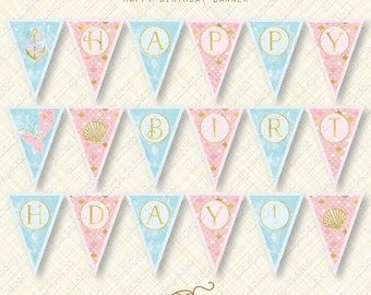 Custom Mermaid Banner Happy Birthday Bunting printable digital download pdf party flag scales anchor shell tail gold foil watercolor effect