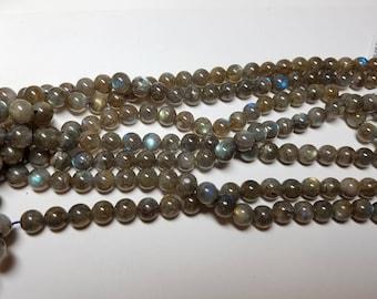 Green Labradorite Round Beads 7mm - 8mm