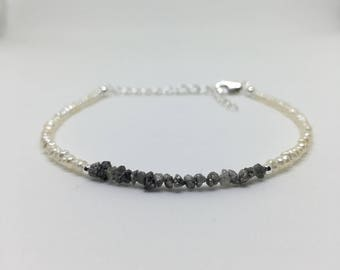 Rough Grey Diamond and Pearl Bracelet, Diamond Bracelet, Freshwater Pearl Bracelet, 925 Sterling Silver Stacker Bracelet, April Birthstone.
