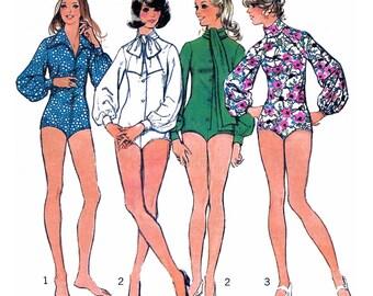 "1973 Bodysuit Wardrobe: Choose Tie-Neck, Turtle Neck, Wide Wing Collar, Raglan Sleeve Option, Long Full Sleeves Simplicity 5746 Bust 32 1/2"""