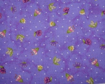 """Herb Blossoms on Lavendar, Thyme With Friends, Maywood Studios, Purple Quilting Cotton, 44"""" wide, by the half yard, 100% Quilting Cotton"""