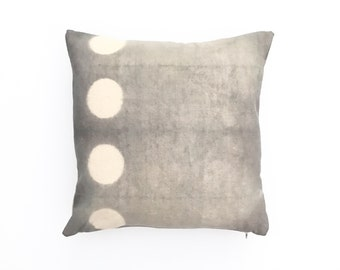 Charcoal Gray Throw Pillow with Shibori Circle Pillow Cover Grey Shibori Pillow Decorative Pillow cover 20 x 20 Cushion cover