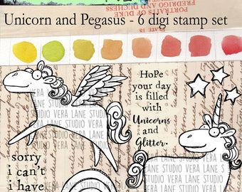 Unicorn and Pegasus - 6 digi stamp set in jpg and png files for instant download