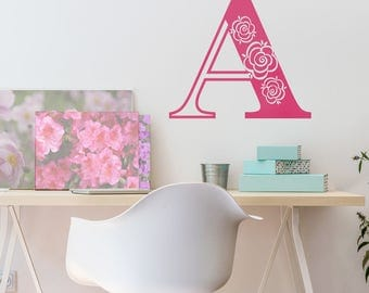 Decorative Rose Initial Letter- Vinyl Wall Decal Art Sticker Monogram Vinyl Decal Decor For Kid's Rooms, Nurseries, Playrooms, Office Decor