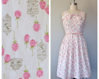 vintage 1950s cotton rose print dress size medium