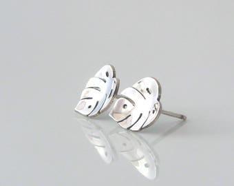 Silver Stud Leaf Earrings - Monstera Earrings - Sterling Silver Stud Earrings - Leaf Earrings - Simple Everyday Studs -Silver Dainty Studs