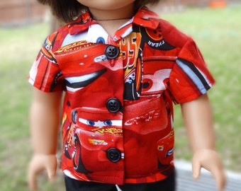 "18"" Doll Clothes Disney Cars Themed Pajamas / Casual Outfit For American Girl Boy Doll Logan"