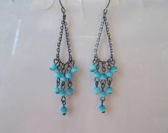 Black Chain Earrings with Blue Cats Eye Bead Dangles