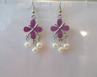 Silver Tone and Purple Clover Dangle Earrings with White Sea Shell Pearl Dangles