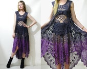 CROCHET Dress Vintage Antique Lace Black Purple Ombre Flared Long Mid-length Cotton Festival Bohemian Boho Gypsy Hippie Handmade ooak xs s m