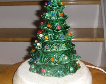 Vintage Christmas Ornament - Lighted Ceramic Tree, Green Ceramic Christmas Tree, White Ceramic Base, Christmas Lighting