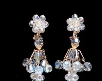 Vintage AB Earrings Chandelier Earrings Aurora Borealis Earrings Drop Dangle Earrings  Unsigned Gold Clear