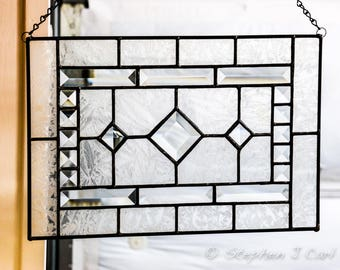 Stained Glass Panel, Crystal Clear Bevels