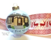 Custom House Ornament New Home Realtor Gift Closing Gift New Homeowners Christmas Glass Bauble Hand Painted MADE TO ORDER