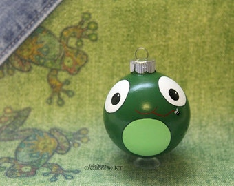 Frog Christmas Ornament READY TO SHIP Green Glass Bauble Hand Painted Kawaii Animal Big Eyes Amphibian Frog Art