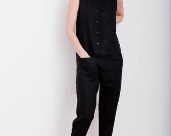 Linen Jumpsuit - Sleeveless Jumpsuit - Women Overall - Linen Overall - Linen Romper - Handmade by OFFON