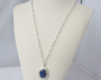 Denim Lapis Lazuli Pendant with Silver Filigree and Textured Silver Chain