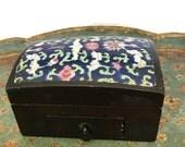 Wood Enamel Treasure Chest, Mirror Jewelry Box, Vintage Storage Vanity Box