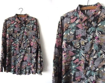 Spray Paint Floral Print Button Down Shirt - Vaporwave 90s Club Kid Abstract Long Sleeve Shirt - Mens Large