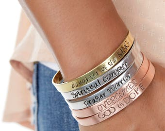Christian Mantra Cuffs | Daughter of the King Christian Cuffs | Hand Stamped Religious Cuff | Engraved Cuffs Expressions Bracelets