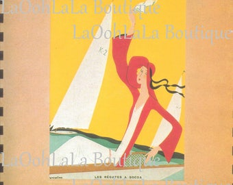 1932 Paris Deco Art Goût Beauté September French Fashion Magazine Cover Feuillets de L'élégance Féminine Les Régates a Socoa Sailboat Decor