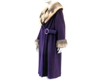Space Age Purple Wool Jacket with Black and White Mink Fur Trim Vintage Winter Coat